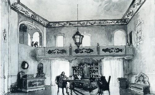 Alexander Benois. Set design for the inn room in Goldoni's La Locandiera (Moscow Art Theater). 1913. Watercolor on paper. Stanislavsky Memorial Museum, Moscow