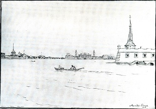 "Alexander Benois. ""The White, majestic Neva labors, in granite clad"". Illustration for Pushkin's The Bronze Horseman, 1916-22. Brush, lead pencil, pen, India ink heightened with white. Russian Museum, St. Petersburg"