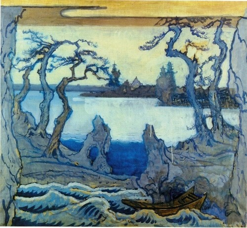 Alexander Benois. Set design for the seashore in Stanislavsky's Le Rossignol (Diaghilev Company). 1914. Tempera on paper mounted on canvas. Russian museum, St. Petersburg
