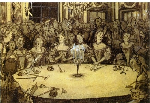 "Alexander Benois. The Gambling House. Illustration for Pushkin's ""The Queen of Spades"", 1910. Pushkin Museum, St. Petersburg"