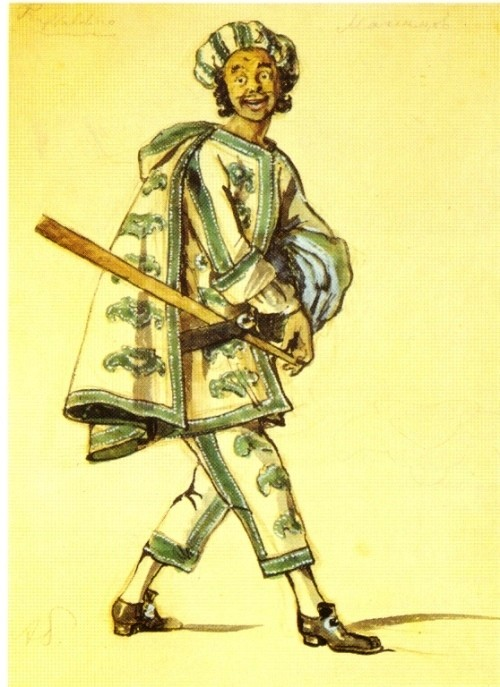 Alexander Benois. Costume design for Truffaldino in Goldoni's The Servant of Two Masters (Petrograd, Bolshoi Drama Theater). 1920. Watercolor on paper. Dobychin collection. St. Petersburg