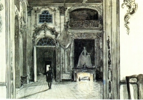 "Alexander Benois. Herman in the House of Countess, Illustration for Pushkin's ""The Queen of Spades"", 1905. India ink and watercolor on paper. Pushkin Museum, St. Petersburg"