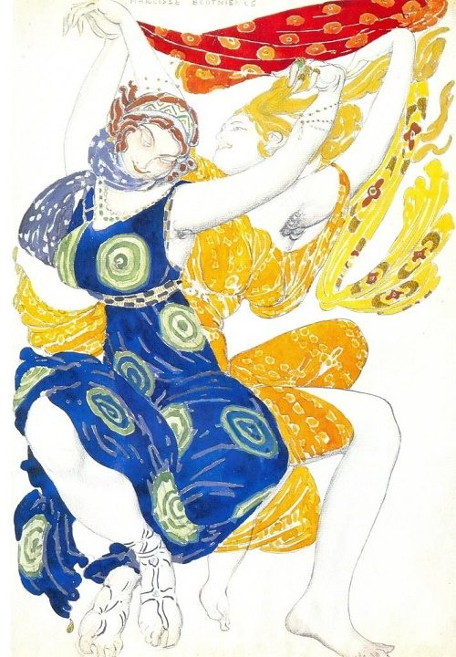Costume design for the Bœotian girls in Tcherepnin's ballet Narcisse (Diaghilev Company). 1911. Watercolor and lead pencil on paper. Theater Museum, St. Petersburg