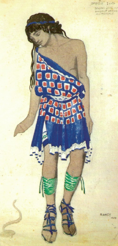 Leon Bakst. Costume design for Orpheus in an unrealized production of Roger-Ducasse's ballet. 1915