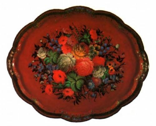 Russian folk art Zhostovo painted trays