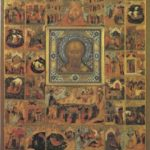Icon The Acathistos in Honour of St Nicholas Mid-19th century Museum of Palekh Art Two next pages border scenes of the icon