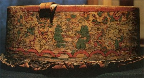 Northern Dvina Traditional Folk Painting berry-basket. Fragments. Genre scenes Permogorye painting. Early 19th century