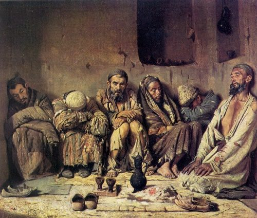 Russian artist Vasily Vereshchagin (1842-1904). Opium eaters. 1867. Oil on canvas. Tashkent Art museum