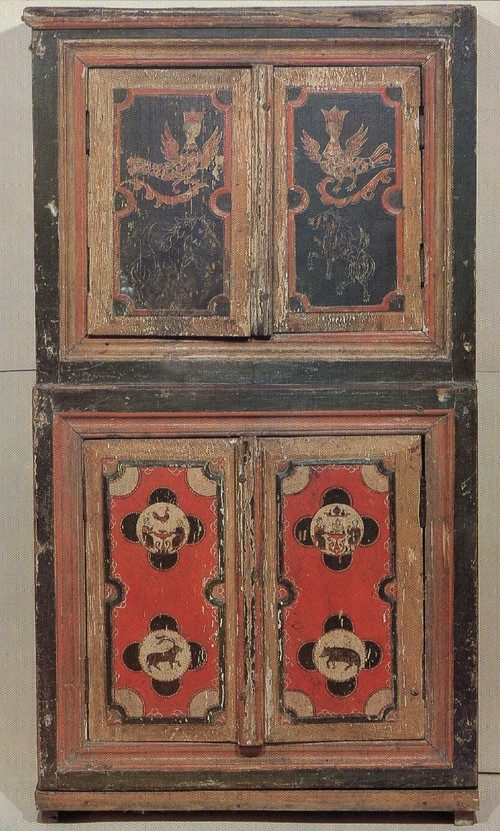 Carved painted woodwork