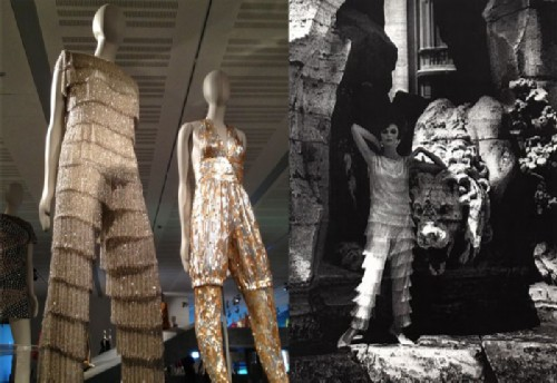 Exposition of pajamas-palazzo in the museum.
