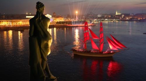 Scarlet Sails festival. Fireworks. Fabulous Scarlet sales celebration in Saint Petersburg.