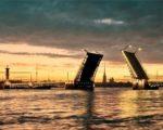 St. Petersburg widest bright Blue Bridge