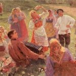 Painting by Fyodor Sychkov. Dance (Red Hill Festival). Meanwhile, Krasnaya Gorka is one of the most romantic Russian holidays, when the guys looked after their bride. Red Hill festival