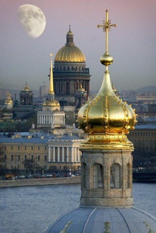 Saint Petersburg White Nights, beautiful domes of churches