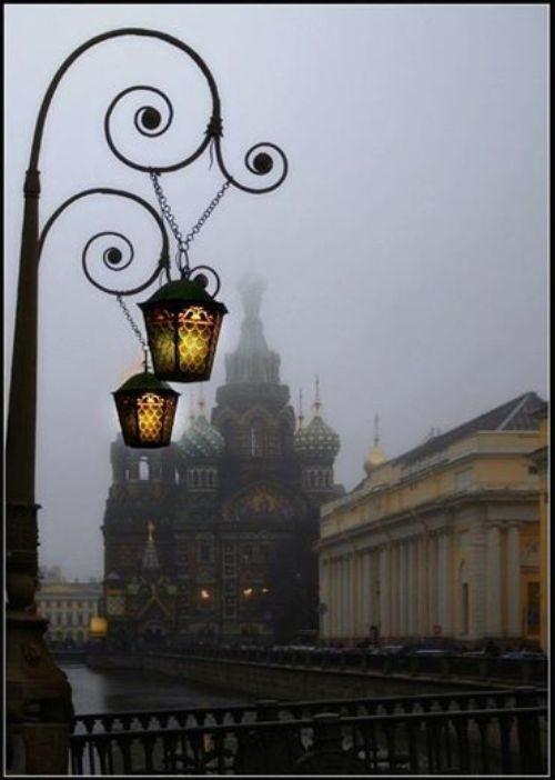 Street lamps. White Nights in Petersburg
