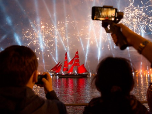 Scarlet Sails festival. The most massive and famous public event during the White Nights, St. Petersburg annual Scarlet Sails festival