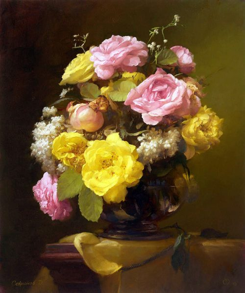 Still life with flowers. Painting by Russian artist Dmitry Sevryukov