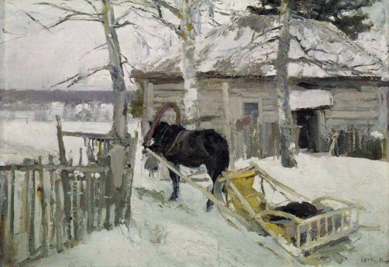 "Painting by Konstantin Korovin ""Winter"""