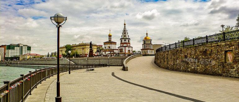 Lower embankment of the Angara - street in the city of Irkutsk, Russia