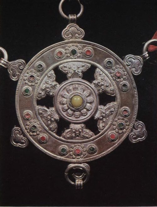 Girdle ornament. Silver, metal, amber. Chasing, enamel. D. 8,5 cm.