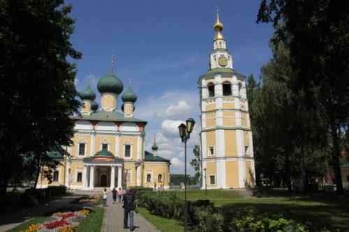 Spaso-Preobrazhensky Solovetsky Stavropol Monastery. The bell tower. Behind the bell tower — St. Nicholas Church and Spaso-Preobrazhensky Cathedral.