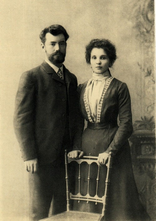 Publisher of postcards P. I. Pokrovsky and his wife
