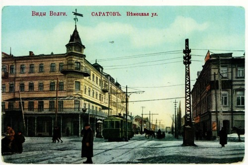 Saratov on pre-revolutionary postcards. The intersection of German and Gorky streets. On the left is the hotel Russia, on the right is the hotel Europe