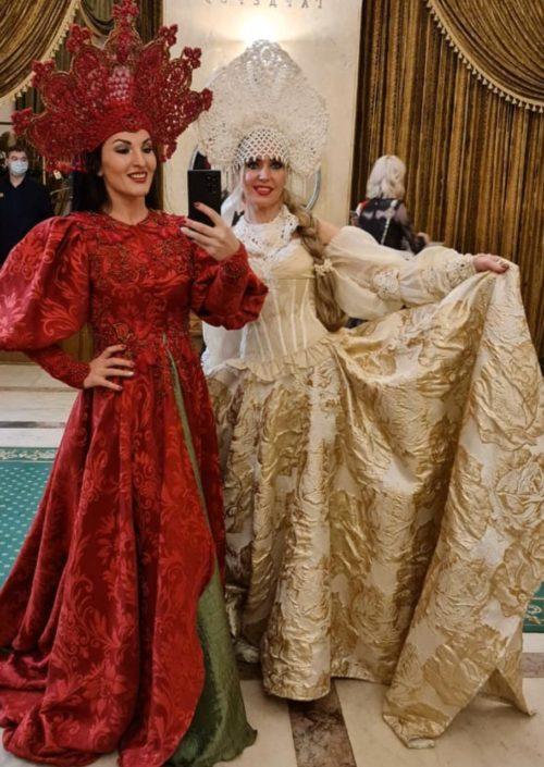 Daria Bocharova and Galina Eremeeva in folk costumes