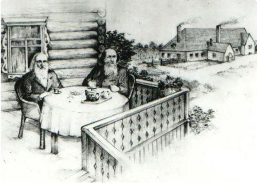 D.I.Mendeleev and N.V. Vereshchagin on the terrace of a house in Endimonovo (Tver province)