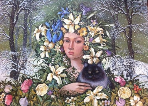 Painting girl with a cat in flowers, winter landscape