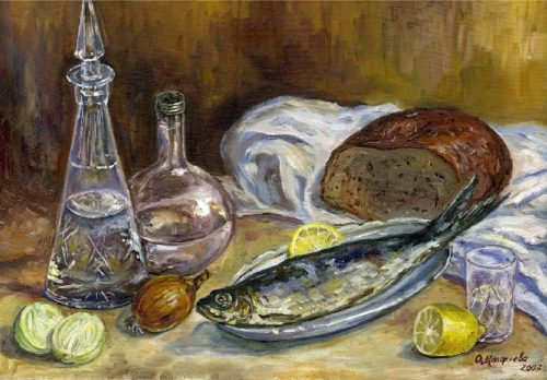 Artist Petrov-Vodkin still life with herring