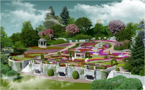 Terraced tulip garden