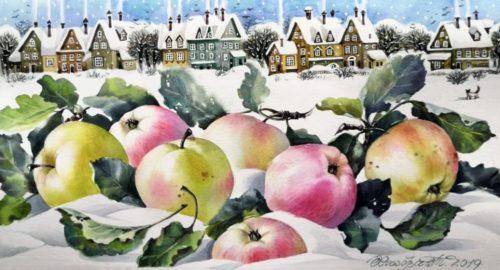 Tatyana Khazova. Apples and Russian village in winter