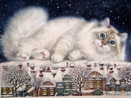 winter landscape, cat and winter village