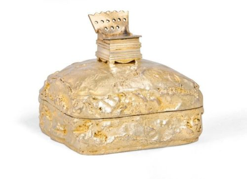 Box in the form of a loaf of bread with a salt shaker, gilding, Gubkin, Moscow, 1862