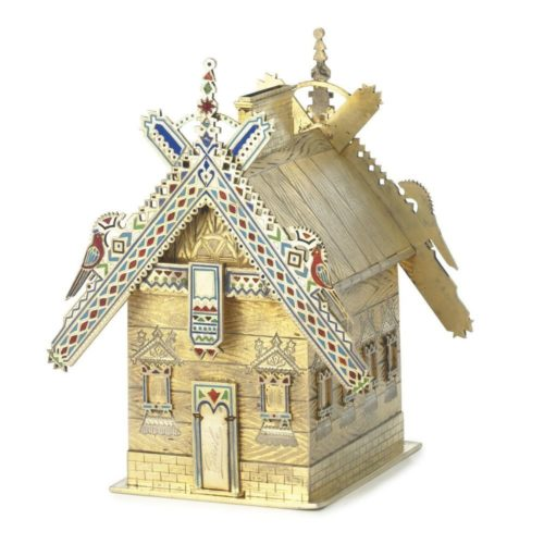 Money box in the form of a rich peasant house, silver, enamel, Theodore Nugren, St. Petersburg, circa 1885