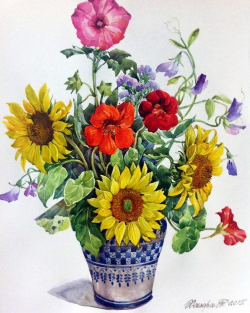 flowers, sunflowers. Tatyana Khazova