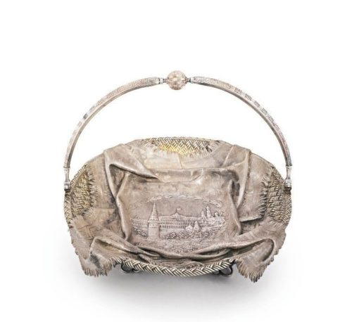 Russian silver cake basket, brand GL (probably Gerasim Loskutov), Moscow, 1881