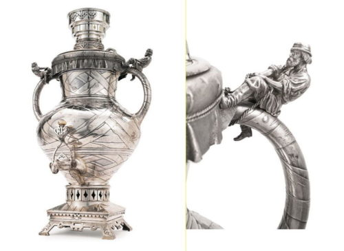 Unusual samovar in the trompe l'oeil style. Made in the form of a covered birch bark vessel with a linen lid, with two realistic figures of Russian men straining to pull the