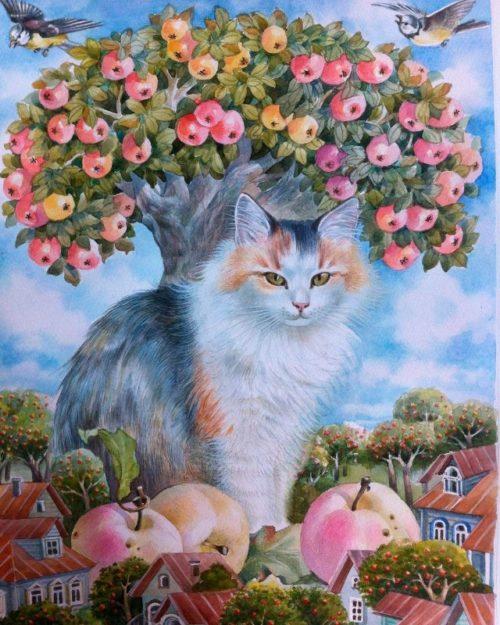 """Scene6 """"Cat under the apple tree"""". Tatyana Khazova"""
