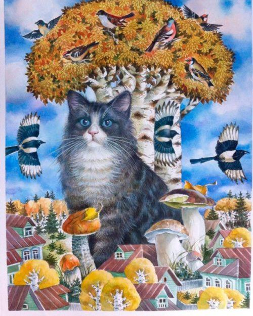 """Autumn landscape: """"Cat, mushrooms and birds"""". Tatyana Khazova"""