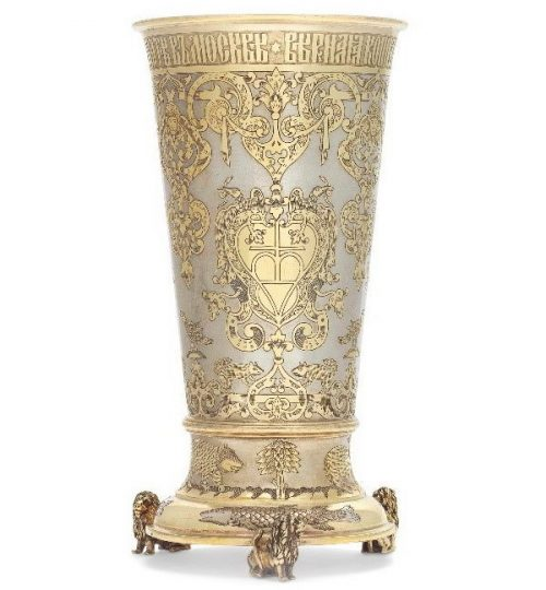 Sazikov jewelry company. Silver gilded glass with engraving and the inscription