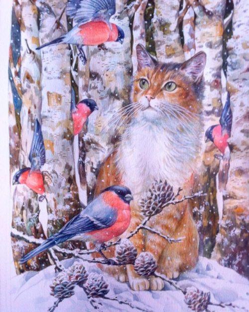 Tatiana Khazova. Picture: Ginger cat and bullfinches