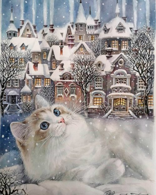 The cat and the Russian winter town