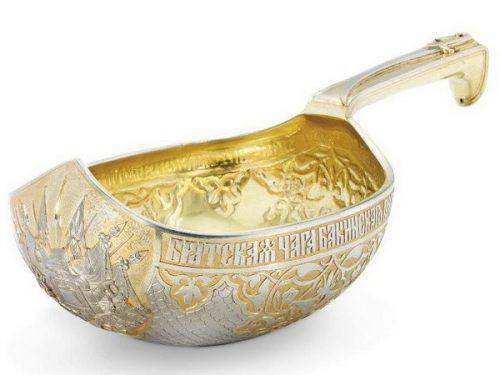 Sazikov jewelry company. Gift gilded silver bucket with military symbols, height 31.8 cm, Sazikov, St. Petersburg, 1878