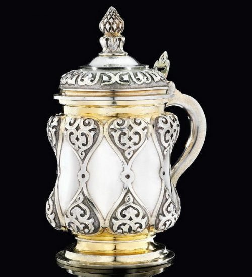Gilded silver tankard with hinged lid, height 22.8 cm, Sazikov, St. Petersburg, 1858