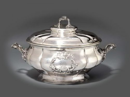 Sazikov jewelry company. Large silver dish for vegetables with a rococo lid (diameter 35.5 cm), Sazikov, St. Petersburg, 1856