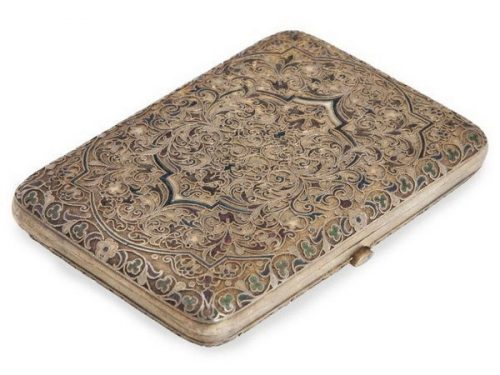 Silver gilded cigarette case, decorated with enamel, Sazikov, Moscow, late 19th century