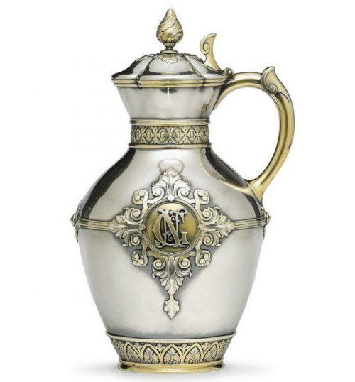 Silver gilded jug, height 31.8 cm, Sazikov, St. Petersburg, 1878