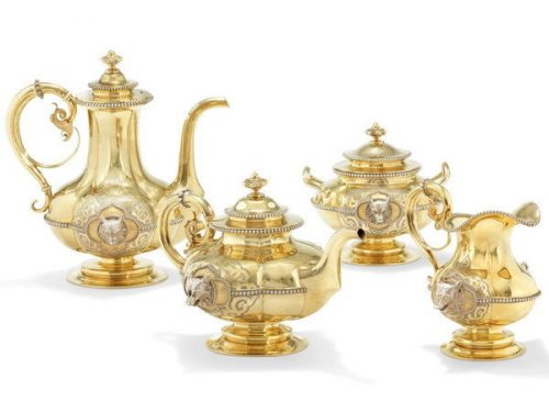 Silver gilded tea and coffee service, decorated with wolf heads, coffee pot height 26.5 cm, Sazikov, St. Petersburg, 1850